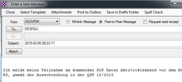 """Für eine P2P Nachricht muss natürlich auch """"Peer-to-Peer Message"""" ausgewählt werden"""